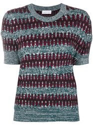Carven Ethnic Knit Sweater Blue