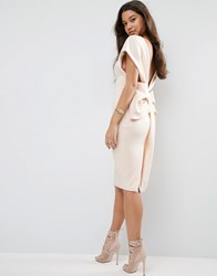 Asos Premium Bow Back Off The Shoulder Mid Dress In Scuba Nude Cream