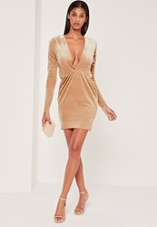 Missguided Long Sleeve Plunge Ruched Waist Velvet Dress Gold Champagne