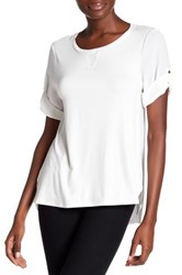 Cable And Gauge Elbow Sleeve Roll Up Tee White