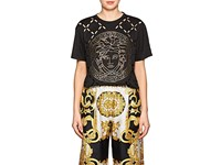 Versace Logo Cutout Cotton T Shirt Black