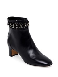Valentino Metal Weave Leather Block Heel Booties Black