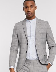 Selected Homme Slim Fit Stretch Prince Of Wales Check Suit Jacket In Grey