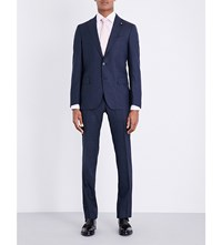 Lardini Micro Square Patterned Tailored Fit Wool Suit Navy