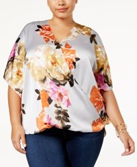 Inc International Concepts Plus Size Printed Surplice Top Created For Macy's Rose Extraveganza