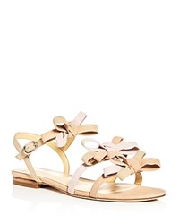 Isa Tapia Women's Nikita Suede Color Block Bow Strappy Sandals Nude Light Pink