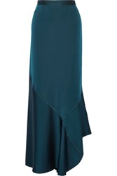By Malene Birger Zalah Stretch Satin Jersey Maxi Skirt Petrol