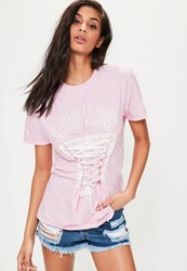 Missguided Pink New York Lace Up Graphic T Shirt