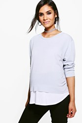 Boohoo Maternity Charlotte 2 In 1 Raw Edge Top Dove