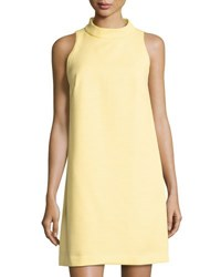 Tahari By Arthur S. Levine Birdseye Jacquard Sleeveless Shift Dress Yellow White