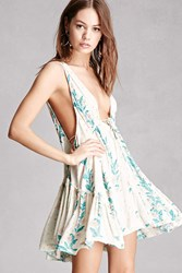 Forever 21 Abstract Floral Swing Dress Cream