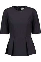 3.1 Phillip Lim Wool Blend Crepe Peplum Top Midnight Blue