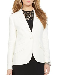 Lauren Ralph Lauren Single Button Linen Blazer Pearl