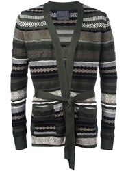 Laneus Multi Pattern Belted Cardigan Green