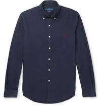 Polo Ralph Lauren Slim Fit Button Down Collar Garment Dyed Cotton Oxford Shirt Navy