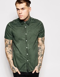 Asos Shirt In Short Sleeve With Heavy Wash Green