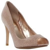 Dune Wide Fit Dinaa Peep Toe Stiletto Sandals Rose Gold
