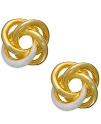 Giani Bernini Enamel Love Knot Stud Earrings In 24K Gold Over Sterling Silver Yellow Gold Over Sterling Silver