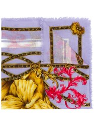 Versace Floral Lion Print Scarf Pink And Purple