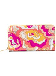 Emilio Pucci Zip Around Abstract Wallet Yellow And Orange