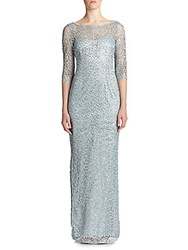 Kay Unger Sequined Lace Column Gown Navy