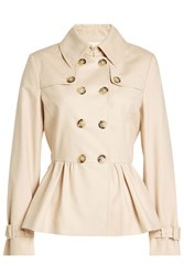 Boutique Moschino Cotton Trench Jacket With Peplum Beige
