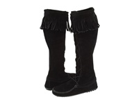 Minnetonka Front Lace Hardsole Knee Hi Boot Black Suede Women's Lace Up Boots