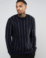Asos Pinstripe Sweater With Mohair Wool Black