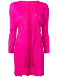 Issey Miyake Pleats Please By Pleated Cardi Coat Pink