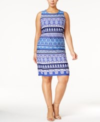 Charter Club Plus Size Printed Shift Dress Only At Macy's Modern Blue Combo