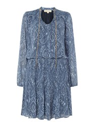 Michael Kors Tex Devonshire Patterned Longsleeve Dress Blue