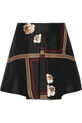 Suno Printed Wool And Silk Blend Mini Skirt Black