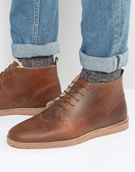 Asos Desert Boots In Tan Leather With Faux Shearling Lining Tan