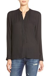 Women's Astr Tie Front Long Sleeve Blouse Black