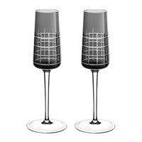Christofle Graphik Champagne Flutes Set Of 2 Grey