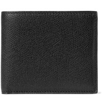 Valextra Pebble Grain Leather Billfold Wallet Black