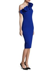 Alberto Makali Ruffle One Shoulder Dress Cobalt