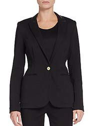 Saks Fifth Avenue Black Faux Leather Trimmed Blazer Black