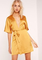Missguided Silky Kimono Dress Yellow Mustard