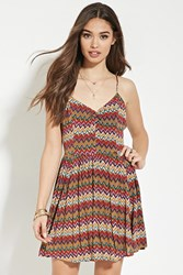 Forever 21 Zigzag Print Cami Dress Pink Multi