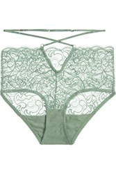 Lonely Penny Stretch Lace Briefs Gray Green