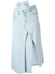Ground Zero Asymmetric Denim Skirt Blue