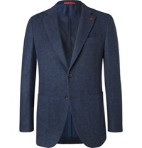 Isaia Blue Slim Fit Brushed Wool And Cashmere Blend Blazer Navy