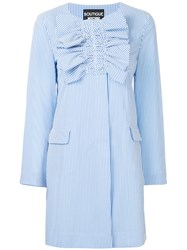 Boutique Moschino Ruched Striped Coat Blue