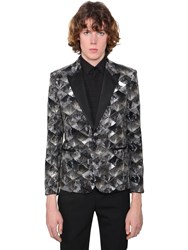Saint Laurent Sequined Cotton Velvet Evening Jacket Black