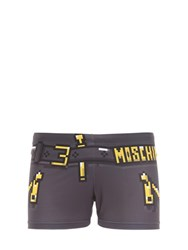 Moschino Printed Lycra Swim Shorts Dark Grey