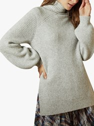 Ted Baker Sylinaa Roll Neck Chunky Knit Jumper Light Grey