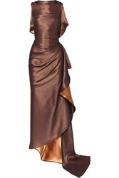Maticevski Supernova Gathered Metallic Cady Gown Copper