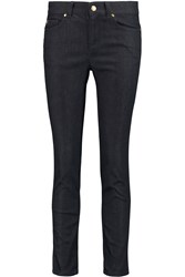 Alexander Mcqueen Metallic Trimmed Mid Rise Skinny Jeans Blue