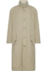 Opening Ceremony Oversized Printed Crinkled Shell Trench Coat Tan